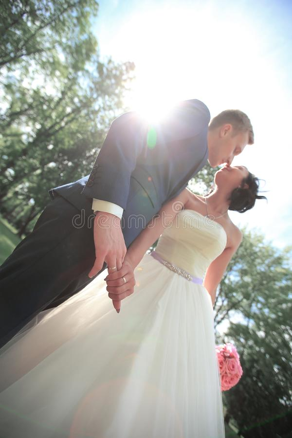 Closeup. portrait of the groom and the bride. The concept of happiness royalty free stock images