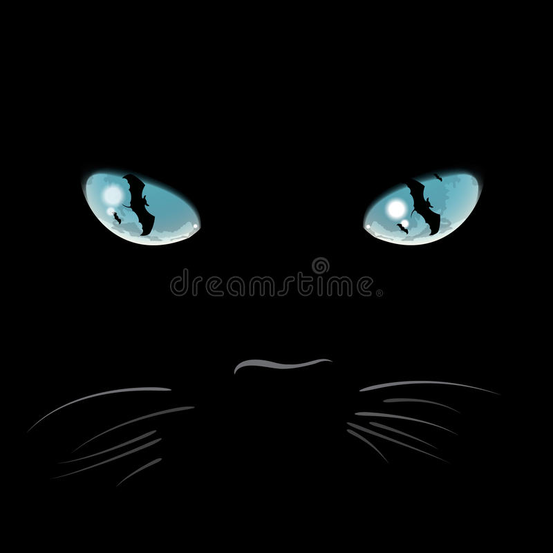 Closeup portrait of a Halloween black cat stock illustration