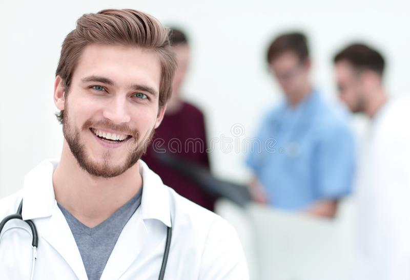 Closeup.portrait of a handsome doctor royalty free stock image