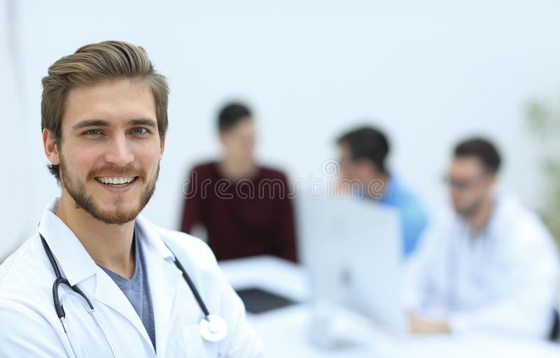 Closeup.portrait of a handsome doctor royalty free stock photos