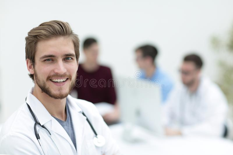 Closeup.portrait of a handsome doctor royalty free stock images