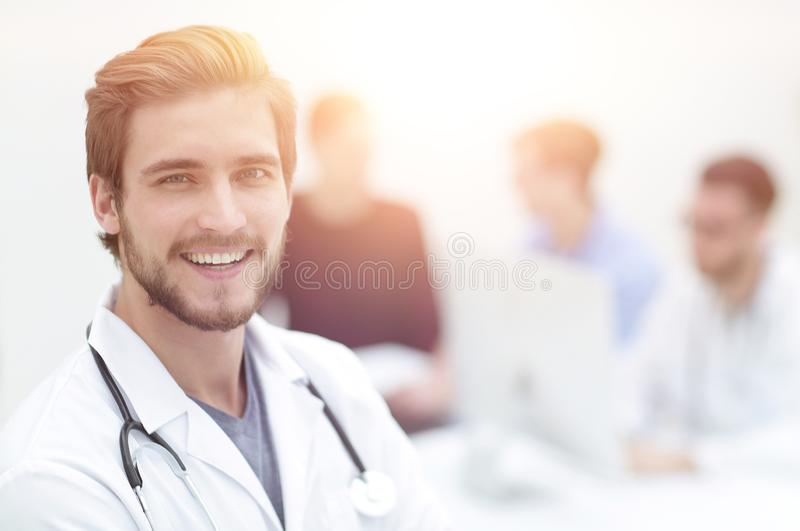 Closeup.portrait of a handsome doctor stock photo