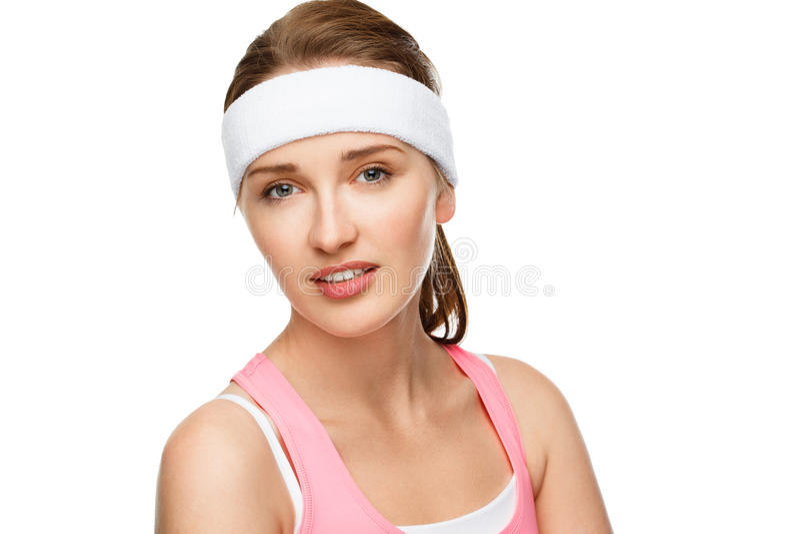 Closeup portrait happy athletic woman tennis player. Closeup portrait athletic woman in gym clothes royalty free stock image