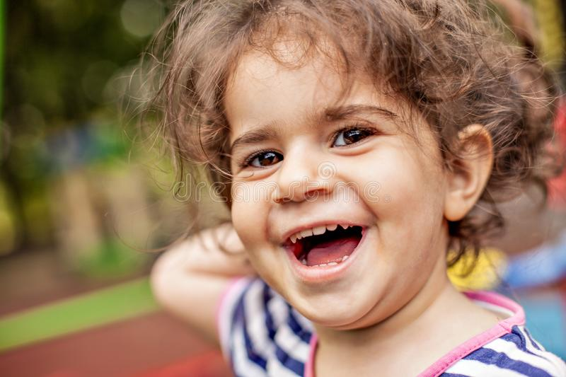 Closeup portrait of happy smiling little girl. royalty free stock photo