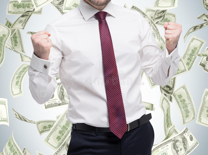 Closeup portrait of happy successful student, business man who has reached the goal. Fists pumped. The concept of celebrating the royalty free stock images