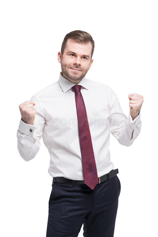 Closeup portrait of happy successful student, business man winning, fists pumped celebrating success. royalty free stock photography
