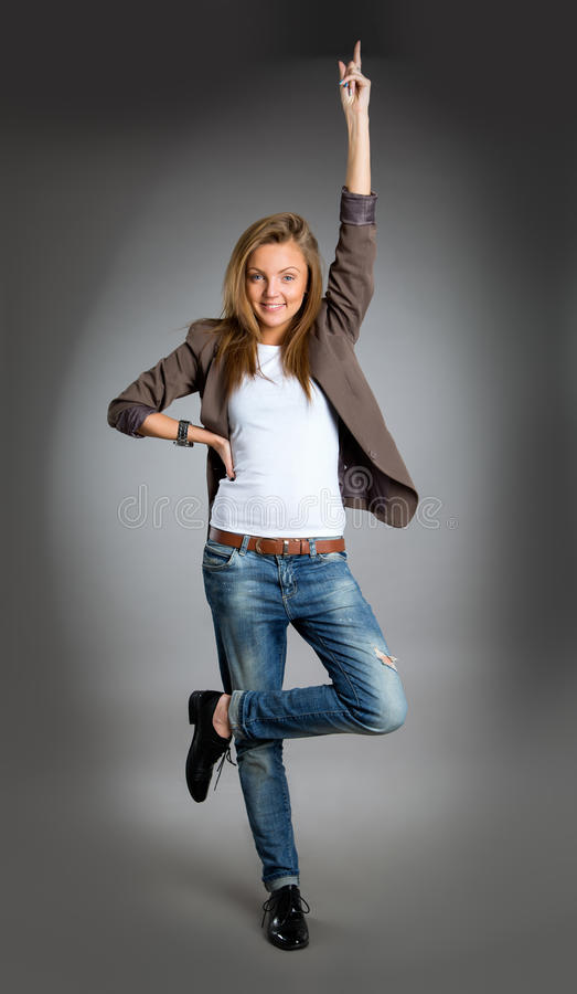Closeup portrait of a happy young business woman stock photos
