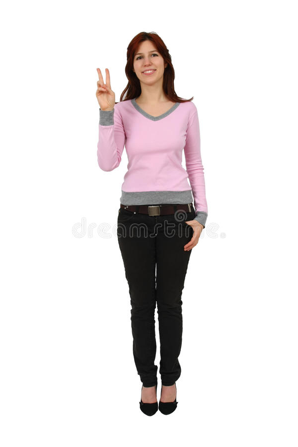 Download Closeup Portrait Of A Happy Young Lady Gesturing Stock Images - Image: 12321884