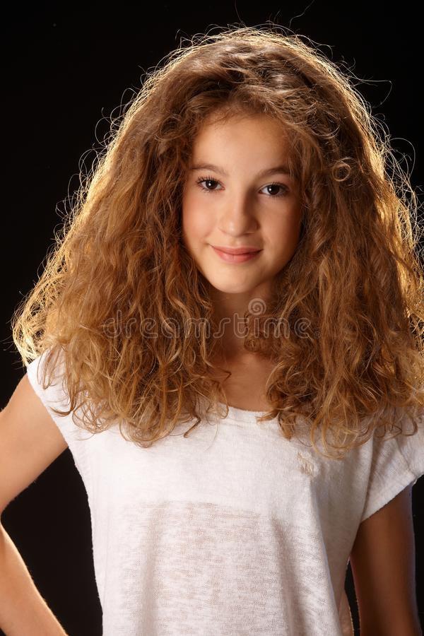 Closeup portrait of lovely young girl royalty free stock images