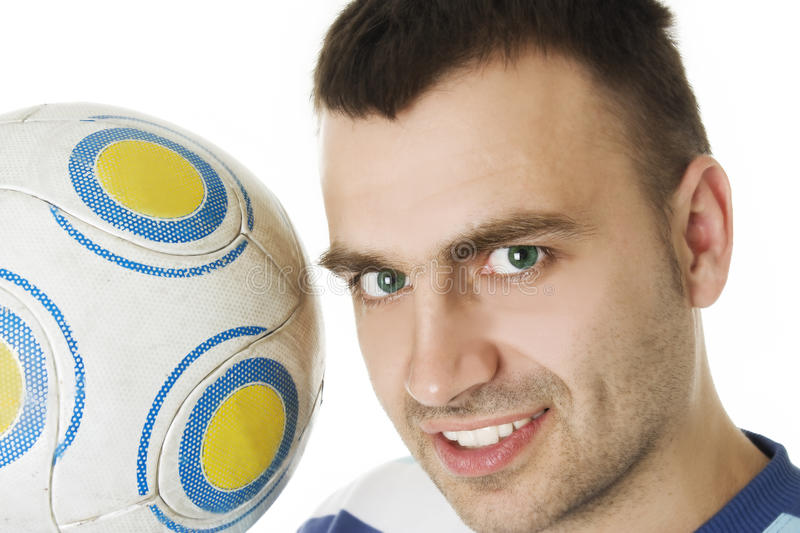 Closeup portrait of man with a football royalty free stock image