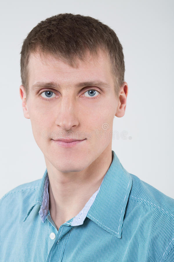 Closeup portrait of a man in a shirt stock image