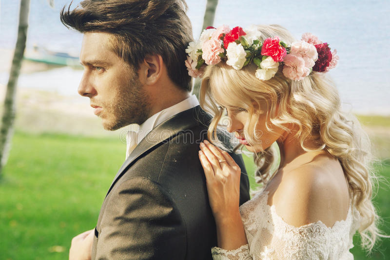 Closeup portrait of the marriage couple stock photos