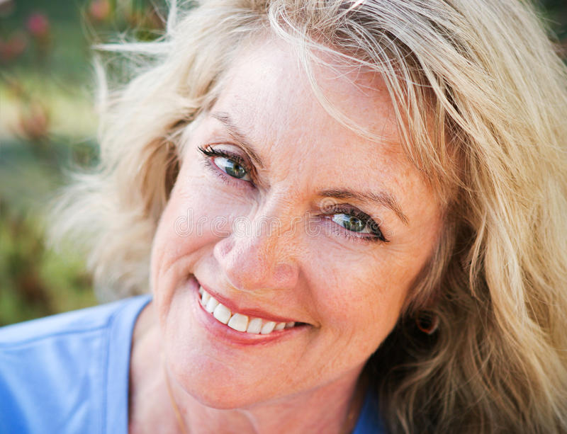 Closeup Portrait - Mature Blond Beauty royalty free stock photos