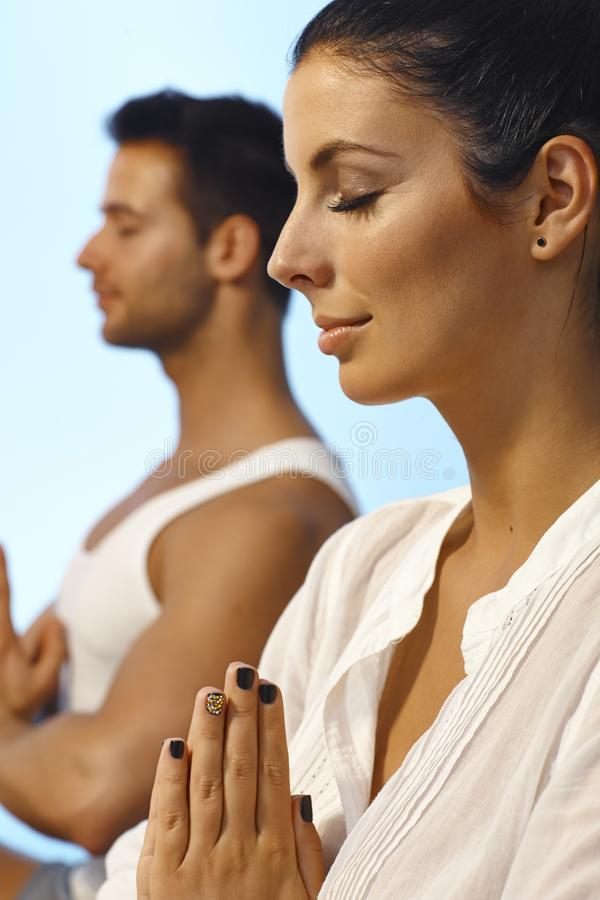 Download Closeup Portrait Of Meditating Woman Stock Image - Image of clothes, closed: 30710475