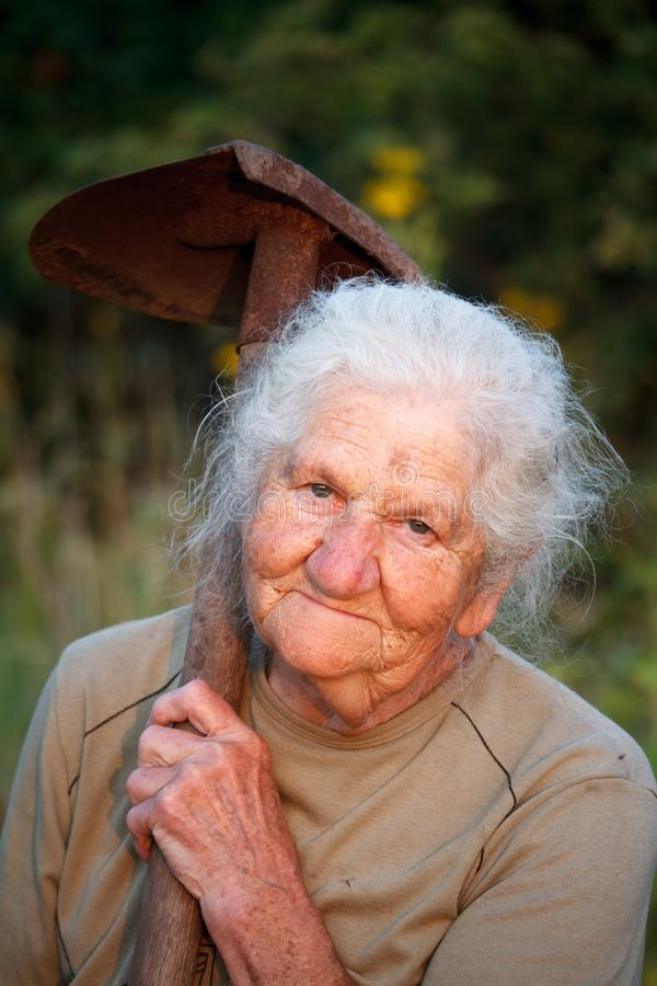 Close-up portrait of an old woman with gray hair smiling and looking at the camera, holding a rusty shovel in her hands, face in stock photo