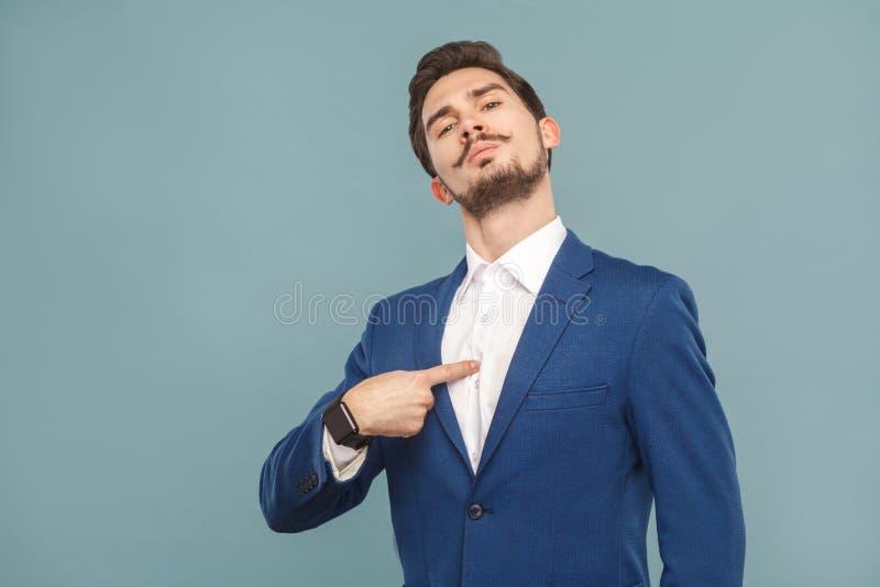 Closeup portrait of proud man pointing finger himself stock photos