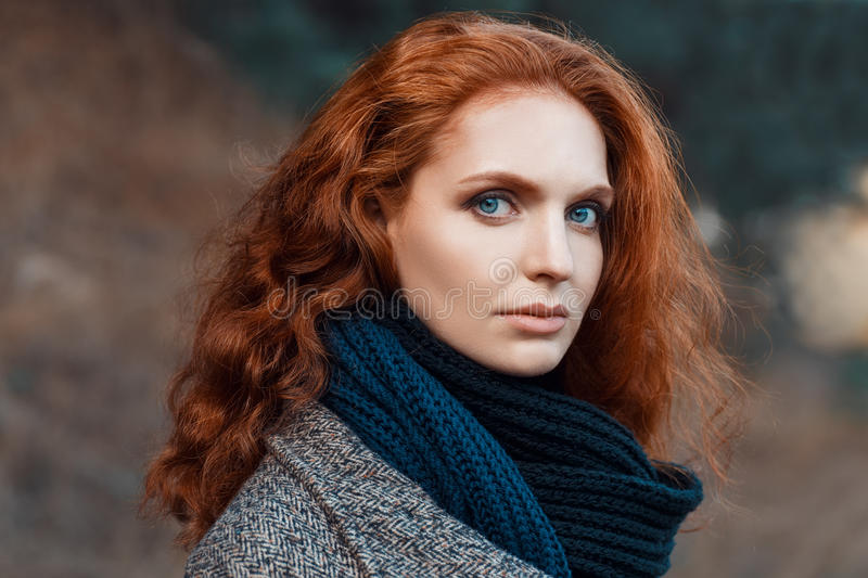 Closeup portrait of redhead girl royalty free stock photo