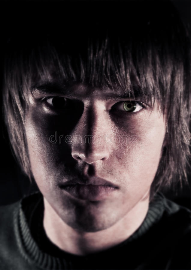 Closeup portrait of sad yang man stock photos