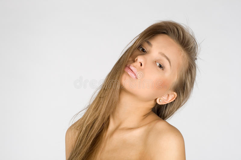 Closeup portrait of a seductive girl stock photography