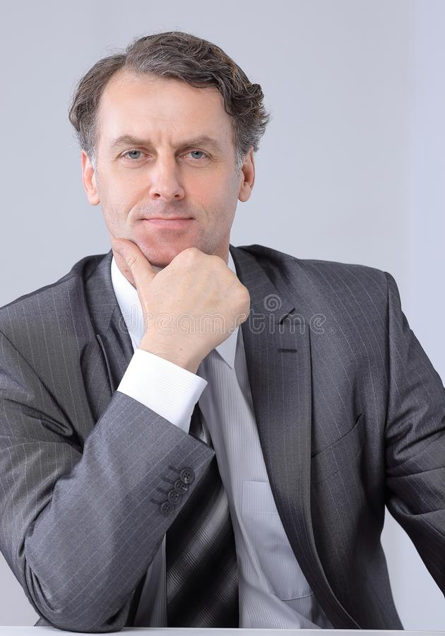 Closeup portrait of a serious businessman. stock photo