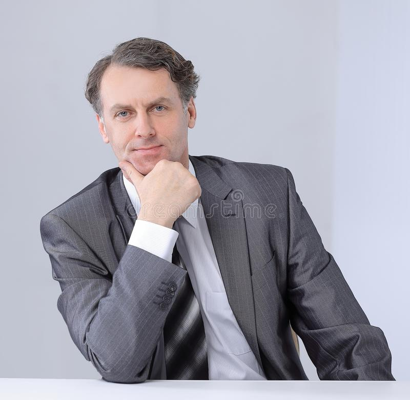 Closeup portrait of a serious businessman. royalty free stock images