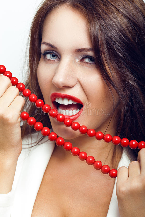 Closeup portrait of sexual brunette woman royalty free stock image