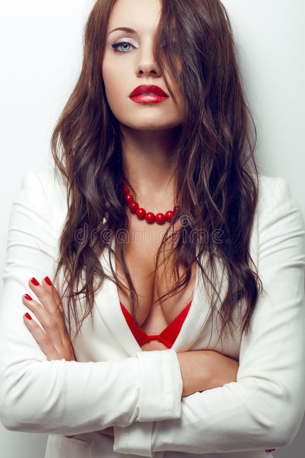Closeup portrait of sexual brunette woman royalty free stock images