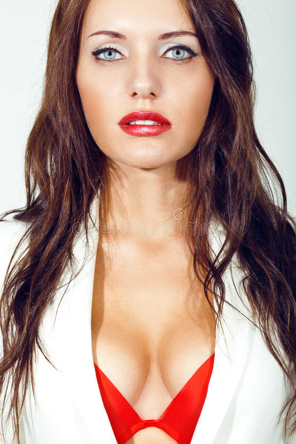 Closeup portrait of sexual brunette woman royalty free stock photography