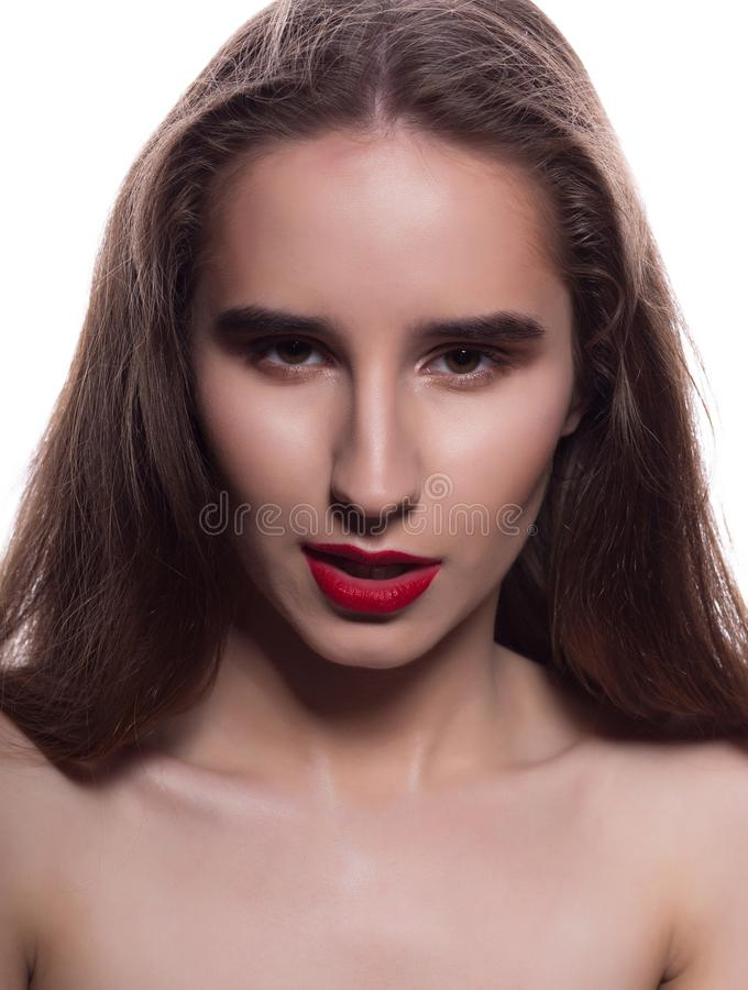 Closeup portrait of brunette girl with bright makeup, posin. Closeup portrait of brunette woman with bright makeup, posing on a white background stock photography