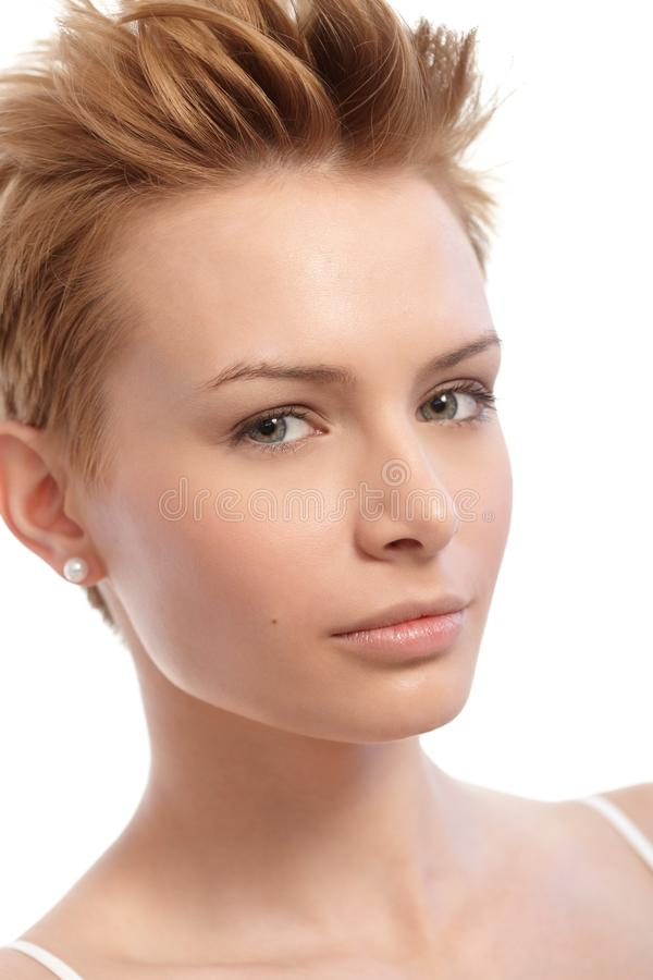 Closeup Portrait Of Short Hair Woman Royalty Free Stock Photography