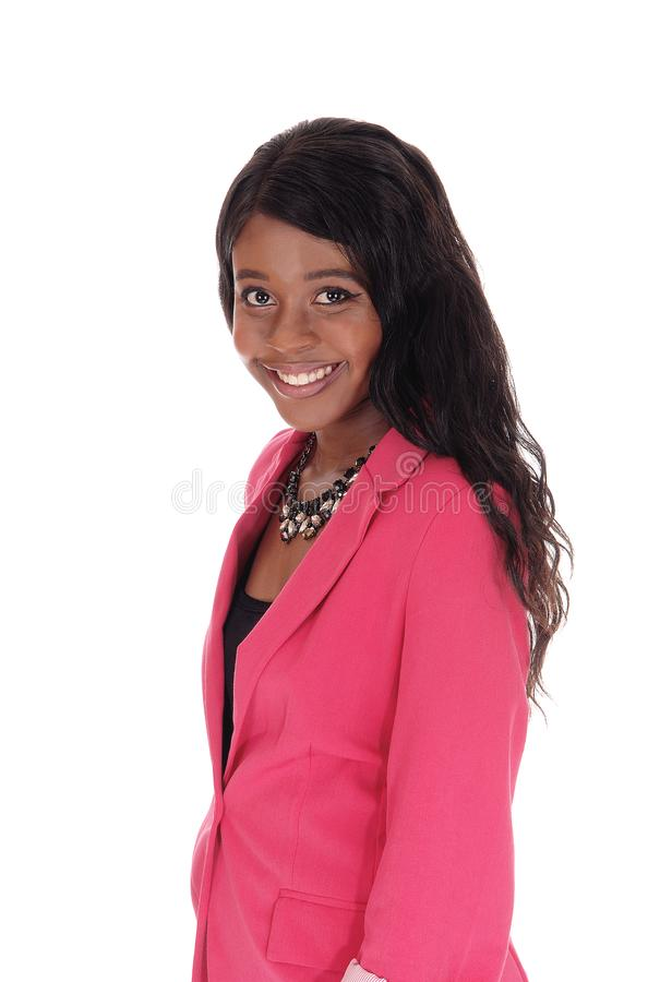 Closeup portrait of smiling African woman stock photos