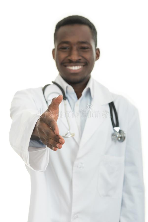 Closeup portrait smiling black healthcare professional doctor with stethoscope, giving handshake. Closeup portrait smiling black healthcare professional, male stock photos