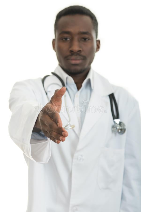 Closeup portrait smiling black healthcare professional doctor with stethoscope, giving handshake. Closeup portrait smiling black healthcare professional, male royalty free stock photos
