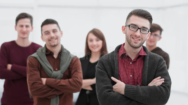 Closeup portrait of successful business team. The concept of teamwork stock photography