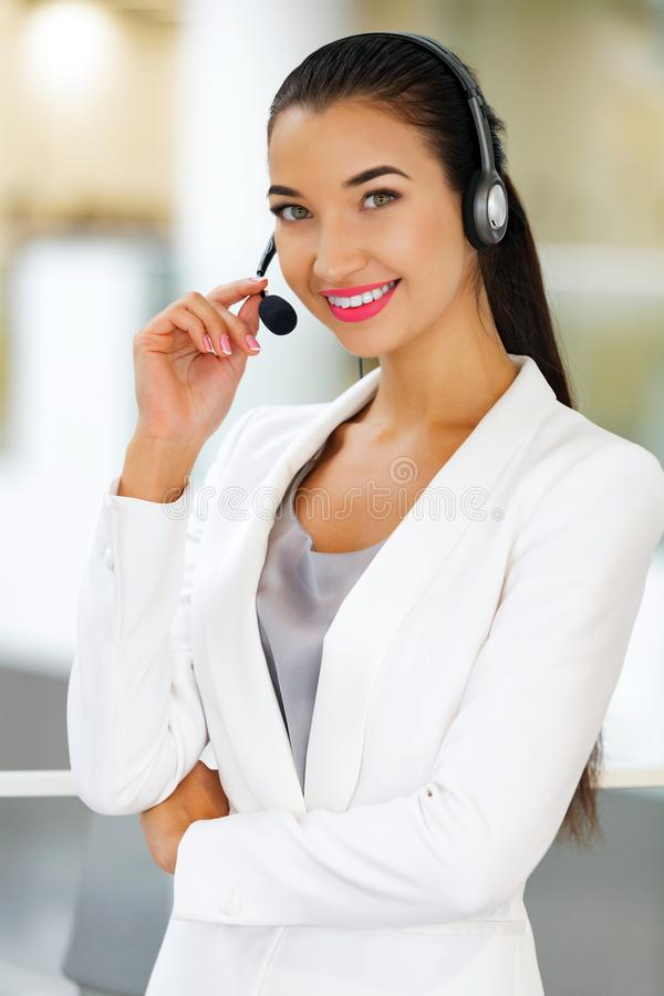 Closeup portrait of support phone operator royalty free stock photos