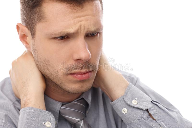 Closeup portrait of troubled businessman stock photos