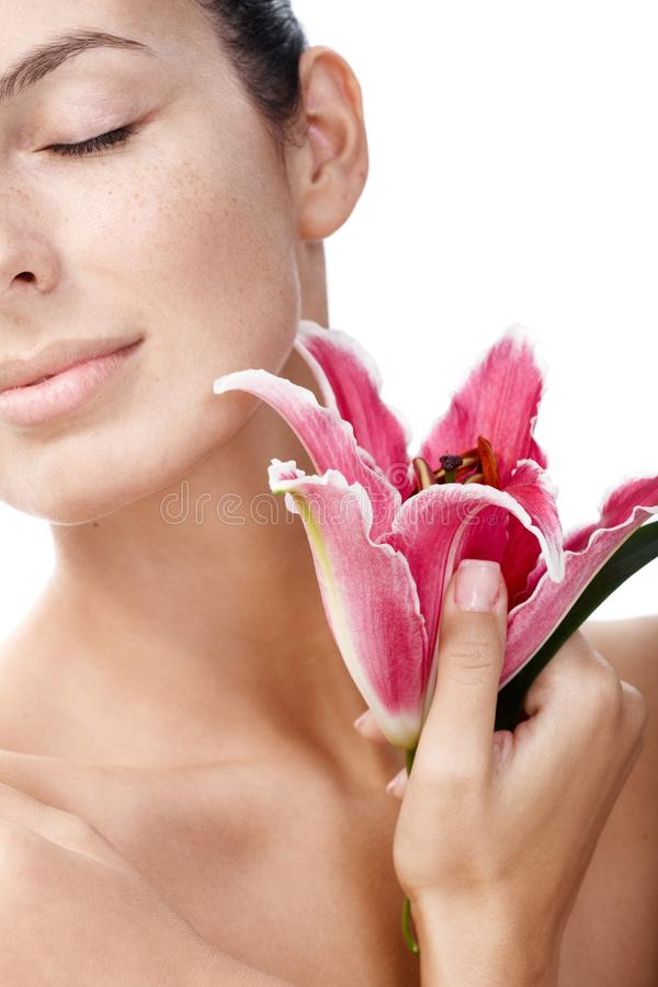 Download Closeup Portrait Of Woman With Lily Royalty Free Stock Photography - Image: 25118107