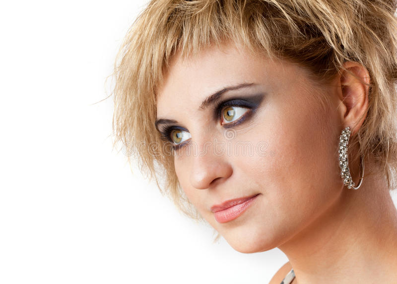 Closeup portrait of young adult girl stock image