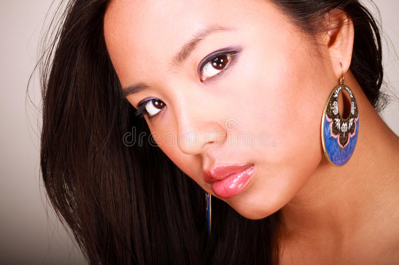 Download Closeup Portrait Of A Young Beautiful Asian Model Stock Image - Image: 14821067