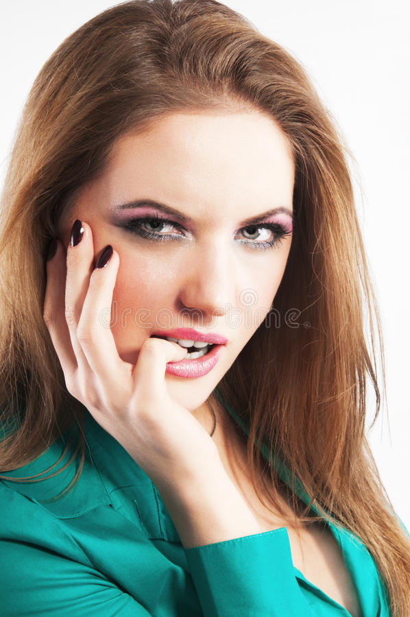 Closeup portrait of young beautiful woman stock images