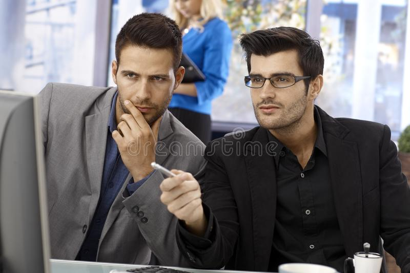Closeup portrait of teamworking businessmen royalty free stock images