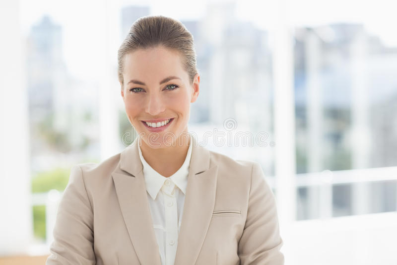 Closeup portrait of a young businesswoman smiling stock image