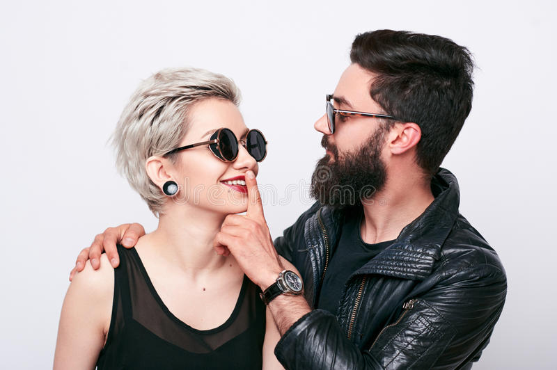 Closeup portrait of young couple in love stock photography