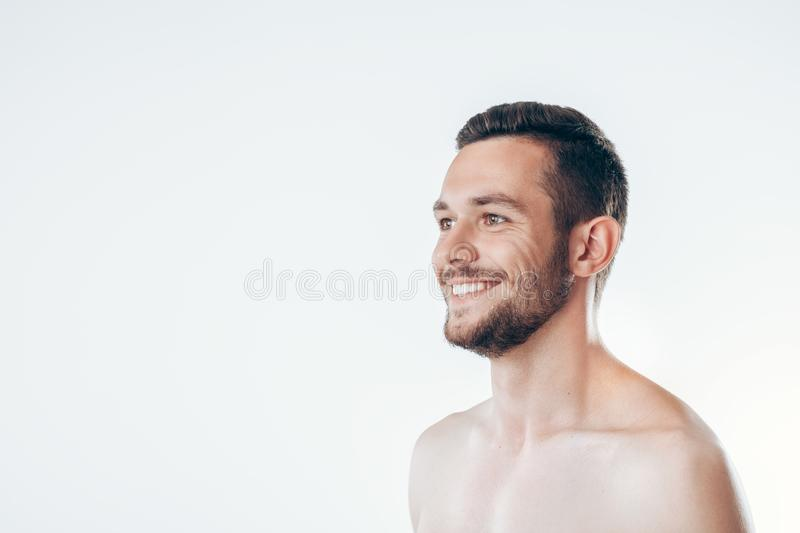Closeup portrait of young man with health clean skin royalty free stock photo