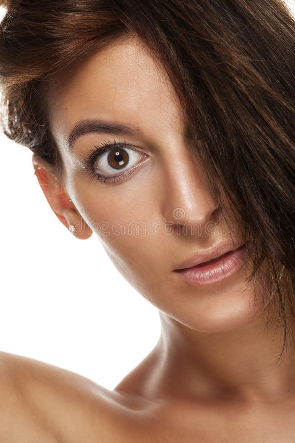 Closeup portrait of a young woman royalty free stock photos