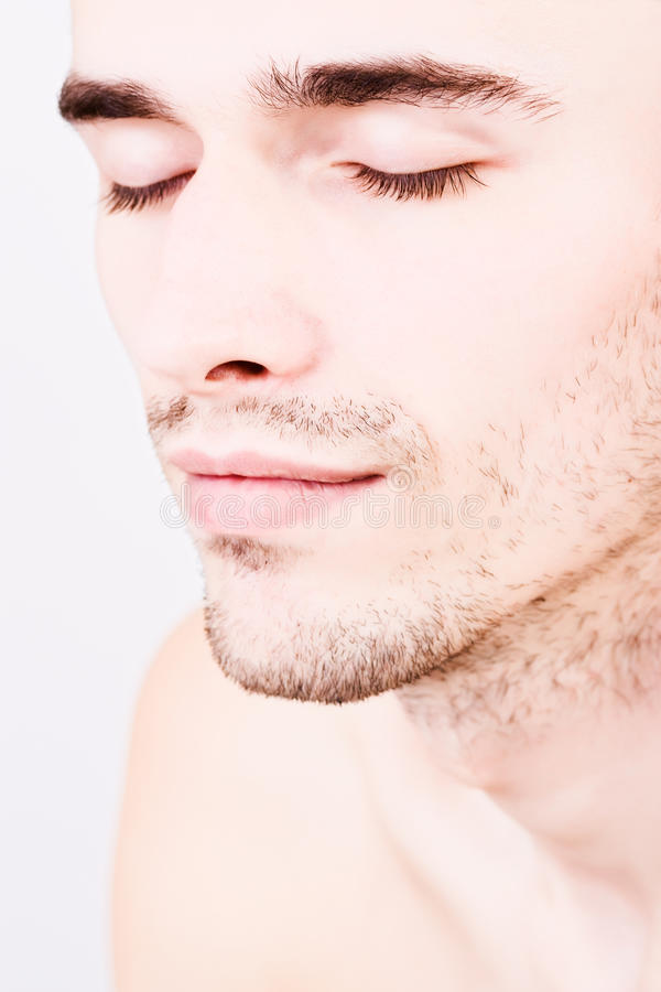 Closeup Portraiture Of Handsome Man Closed Eyes Stock Images