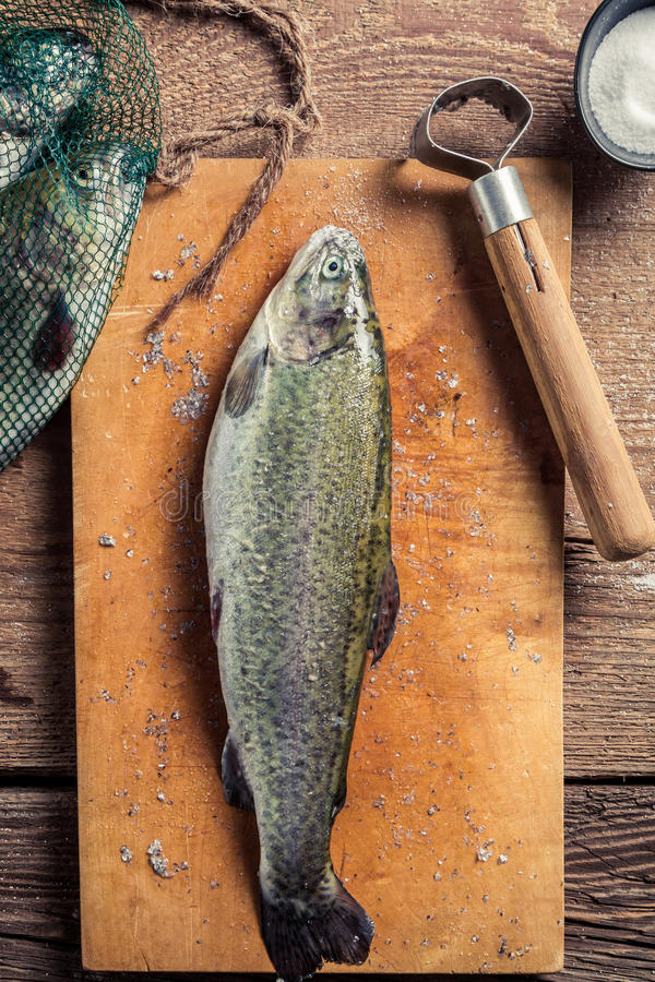 Closeup of preparing freshly caught fish stock photos