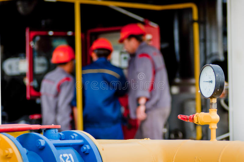 Closeup of pressure meter on natural gas pipeline royalty free stock photos