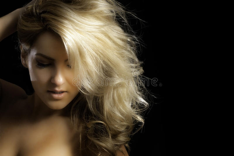 Closeup Pretty Blonde Fashion Model Hand On Head royalty free stock image