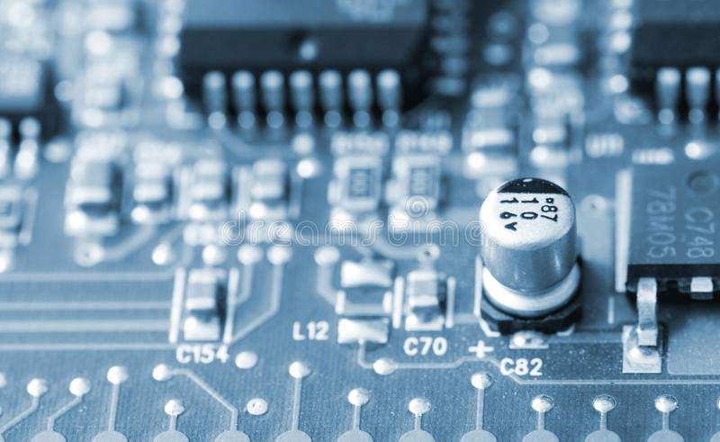 Closeup of a printed circuit board stock photography
